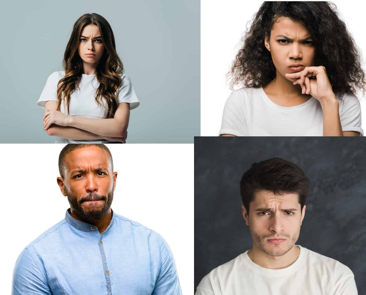 four pictures of individuals expressing anger